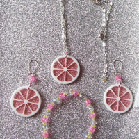 Pink Lemonade  - Set of Earrings, Necklace, and Beaded Stretch Bracelet