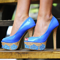 Prarie Sweet Pumps: Turquoise/Cork | Hope's