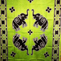 Batik Elephant Tapestry Green