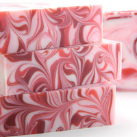 Red & White Candy Cane Soap with Peppermint Essential Oil