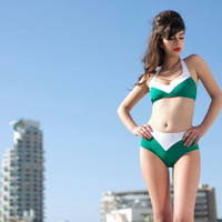 Fresh Green Halter Top Bikini Swimsuit / Halter Top and Mid Waisted Bottoms Bathing Suit