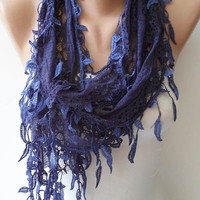 Dark Blue Lace Scarf  with Trim Edge - Special Laced Fabric