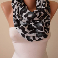 New - Eternity  Scarf - Mother's Day Gift - Leopard  Infinity Scarf - Soft Cotton Fabric