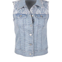 LACE SHOULDER DENIM VEST