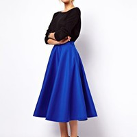 ASOS Full Midi Skirt in Scuba at asos.com