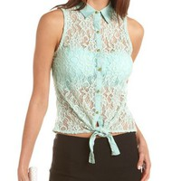Tie-Front Sheer Crochet Top: Charlotte Russe
