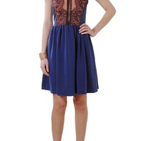 Sienna Dress - Lace Colorblock Dress - Humblechic.com