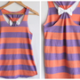 Coral Striped Bow Tank Top - Medium - Limited Edition