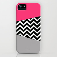 Hot Pink Grey Black Chevron Pop iPhone Design iPhone &amp; iPod Case by RexLambo