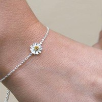silver daisy charm bracelet from Astrid &amp; Miyu Jewellery