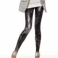 Metallic Snake-Print Leggings at Spiegel.com