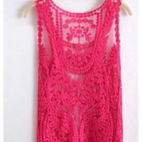 Pink Semi Sheer Sleeveless Vintage Style Crochet Top