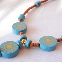 Boho Wood Necklace Teal Blue Brown Sundial Southwest New Mexico Style
