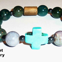 "Men's Bracelet : Fancy Jasper, Howlite Cross, Hematite and Wood  beads ""Dreams Come True"""