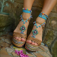 blue HIPPIE summer BAREFOOT SANDALS crochet sandals by GPyoga