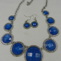 Fashion Necklace Rhinestone Blue Shimmery Acrylic Beads Silver Chain