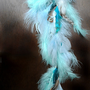 POWDER BLUE Feather Extension // Pastel Handmade Festival Hair Clip in Extension // Long Blue Teal