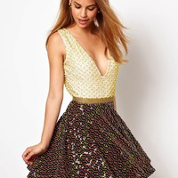 Virgos Lounge Amy Embellished Skater Dress with Low Neck at asos.com