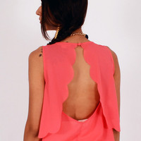 Coral Scallop Hem Open Back Top