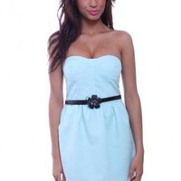 Blue Strapless Dress - Strapless Sweetheart Bodice Mint Side | UsTrendy
