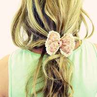 Bow Me Kisses Hair Bow Elastic Tie Coral