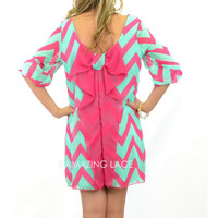 Suzy Bell Fuschia &amp; Mint Chevron Bow Dress