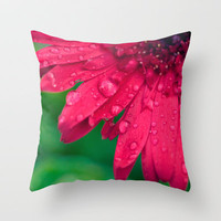 Raindrop Daisy Throw Pillow by Erin Johnson