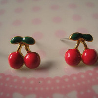 Cherry Earrings Studs Bright Pink by Bitsofbling on Etsy