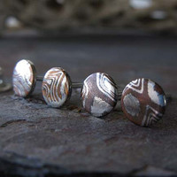 Mokumé Gane minimalist stud earrings. Artisan jewelry. Everyday simple posts. Sterling silver & copper wood grain gift for her.