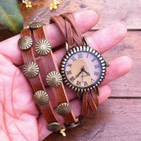 Vintage Style Wrist Watch Brown Leather Bracelet  Wrap Watch, Handmade Women's Watch, Rivet Watch, Everyday Bracelet  PB035