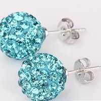 Diamond ball earring