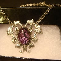 Pink / Purple Fused Glass Morning Glory Heart Vine Necklace (1070)