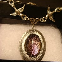 Victorian Style Dichroic Glass Locket Necklace with Birds / Sparrows in Antique Silver  (1083)