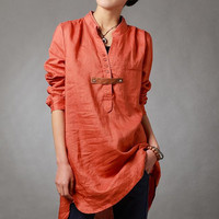 Spring orange shirt linen asymmetric long sleeved shirt