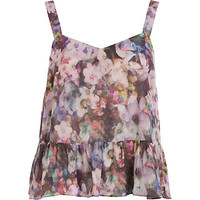Blue floral print cropped peplum top - crop tops / bralets / bandeau tops - tops - women
