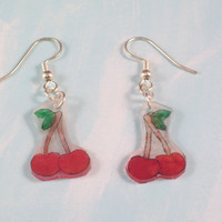 Cherry Shrinky Dink Handdrawn Acrylic Earrings