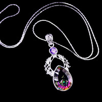 Mystic topaz necklace, Boho necklace, 925 sterling silver crystal necklace, Rainbow necklace, Iolite, OOAK, statement necklace