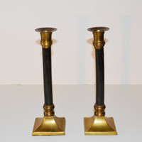 Vintage Hollywood Regency Black and Brass Candlesticks Art Deco Candle Holders