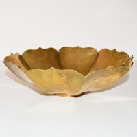 Vintage Hollywood Regency Large Brass Bowl Mid Century Modern Large Brass Bowl