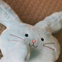 "PERSONALIZED - Plush Bunny Rabbit Blue Softie ""Flat Little Bunny Rabbit"" with Embroidered Baby Name"