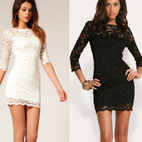 Sexy Sweet Slim Lace Hollow Dress For Women