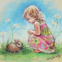 Bunny  Baby art, little girl, Nursery Art,  Print kids pastel pink green