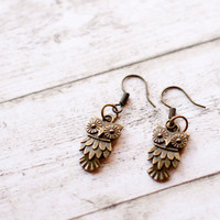 Cute owl earrings rustic forest woodland jewelry antiqued bronze