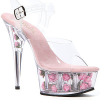 Pleaser Heel Delight Pink Flower Platform in Pink