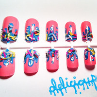 Ice Cream Drip with Sprinkles Fake Nail Set by NailTreats on Etsy