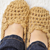 Spring Crochet Slippers Women's Coffee Tone by IsabelleKnits