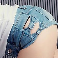 Sexy bowknot jeans shorts