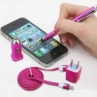 usb cable charger usb cord Touch Pen 4pcs a lot for iphone 4/4s/5