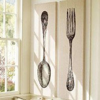 Fork & Spoon Stretched Canvas, Set of 2 | Pottery Barn
