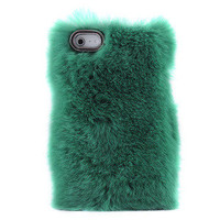 waloli shopping mall — Unique Green Soft Fur Hard Cover Protective Case For Iphone 4/4s/5